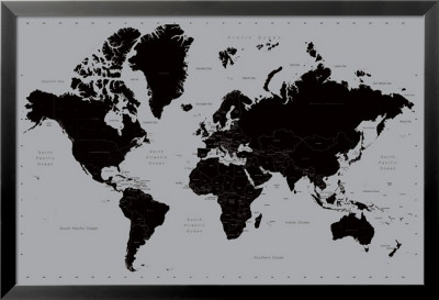 World Map - Contemporary Lamina Framed Poster