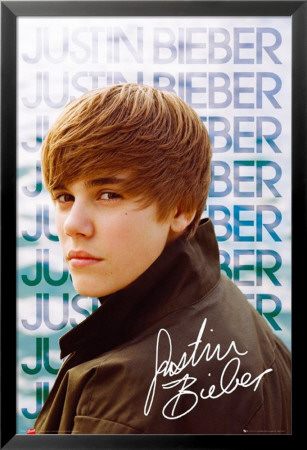 justin bieber black and white poster. Justin Bieber Lamina Framed
