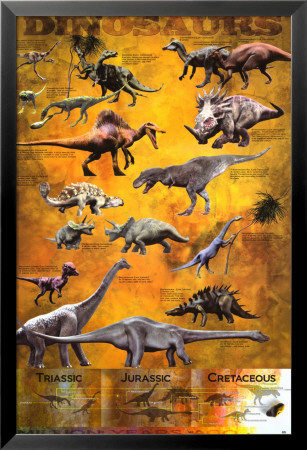 Dinosaurs Lamina Framed Poster