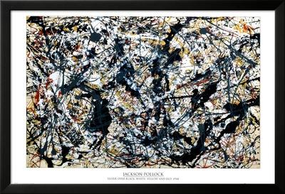 Sølv på sort Lamina Framed Poster