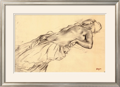 Lying Nude Framed Art Print