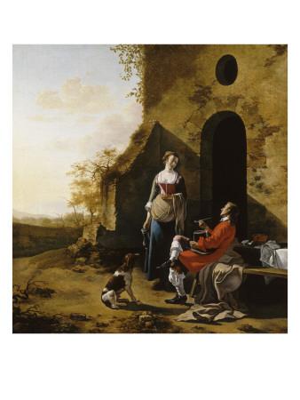 Entrée d'une auberge, conversation galante Giclée-Druck von d'Utrecht Vermeer