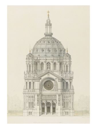 Eglise Saint-Augustin (Paris): Main Facade Elevation Giclee Print by Victor Baltard