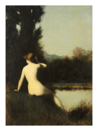 Nymph Sitting on the Edge of Water, Called the Source Giclee Print by Jean Jacques Henner