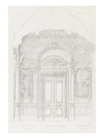 New Paris Opera: Project for the Hall of the Smoker Giclee Print by Charles Garnier