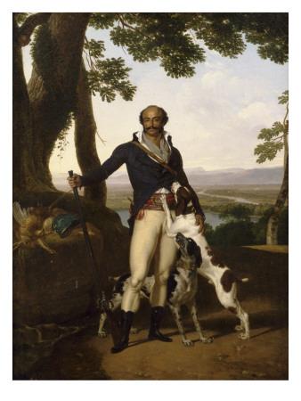 Portrait d'un chasseur avec ses chiens dans un paysage, dit Portrait d'Alexandre Dumas père Giclée-tryk