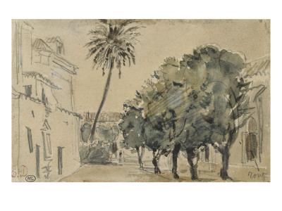 Place San Lorenzo à Séville Giclee Print by Eugene Delacroix