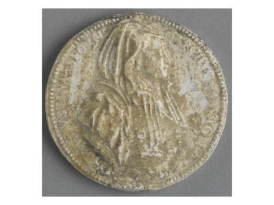 Médaillon rond avec le buste de Faustine Sforza Giclée-tryk