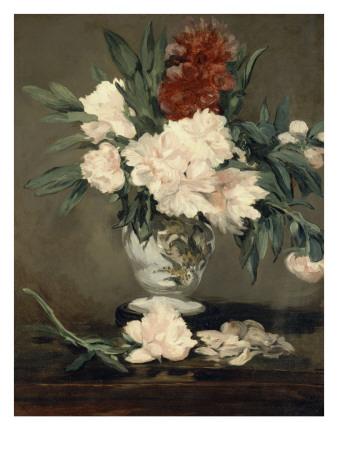 Vase de pivoines sur piédouche Lámina giclée por Édouard Manet
