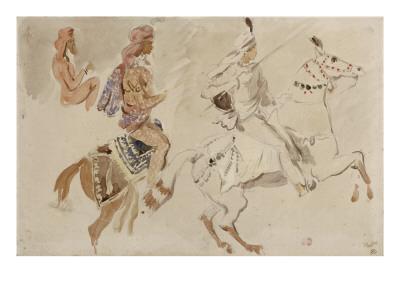 """Trois études de cavaliers orientaux allant sur la droite d'après """"Le Voyage en Inde pendant les Giclee Print by Eugene Delacroix"""