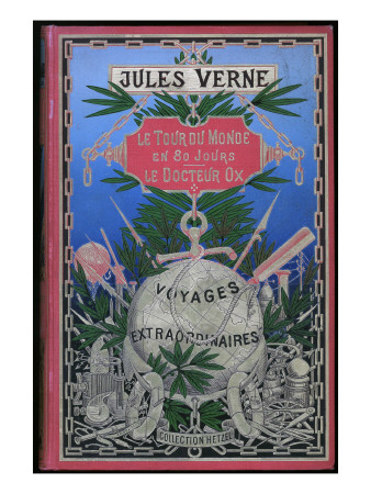 "Jules Verne, Cover of ""Around the World in 80 Days"" and ""Doctor Ox"" Giclee Print by Jules Verne"