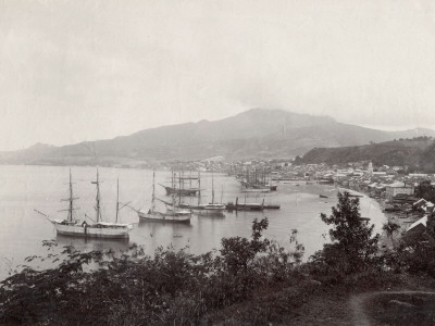 West Indies, View of St. Pierre, Martinique Fotografiskt tryck