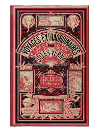 "Jules Verne, Cover of ""Southern Star Mystery"" and ""Propeller Island"" Giclee Print by Jules Verne"
