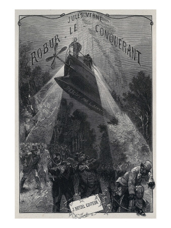 "Jules Verne, ""Robur the Conqueror"", Frontispiece Giclee Print by Jules Verne"