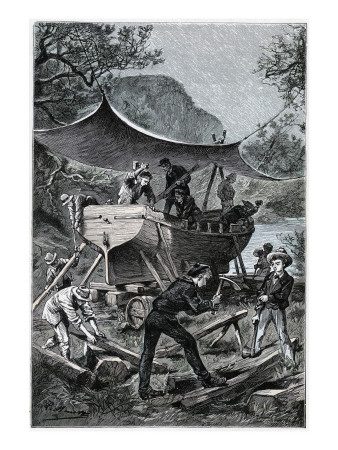 "Jules Verne, ""Two Years Holiday"", Illustration Giclee Print by Jules Verne"