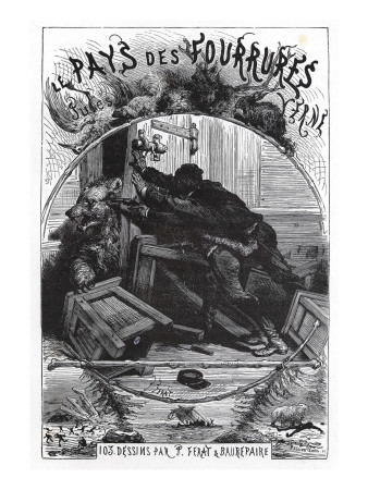 "Jules Verne, Frontispiece of ""The Fur Country"" Giclee Print by Jules Verne"