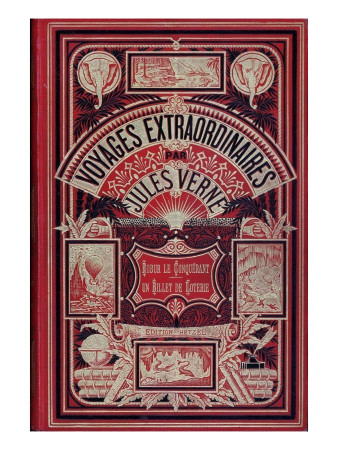 "Front Page of ""Robur Le Conquérant"" and ""Un Billet De Loterie"", by Jules Verne Giclee Print by Jules Verne"