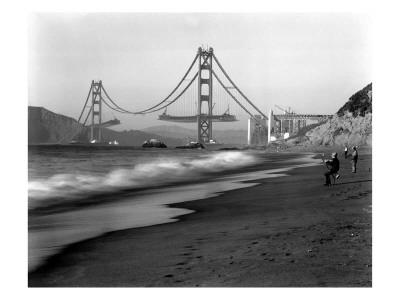 Golden Gate Bridge under Construction, From Baker Beach, c.1936 Giclee Print