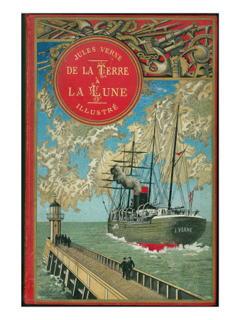 "Jules Verne, ""From the Earth to the Moon"", Cover Giclee Print by Jules Verne"