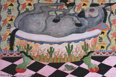 Mule in Bath Art by Carol Grigg