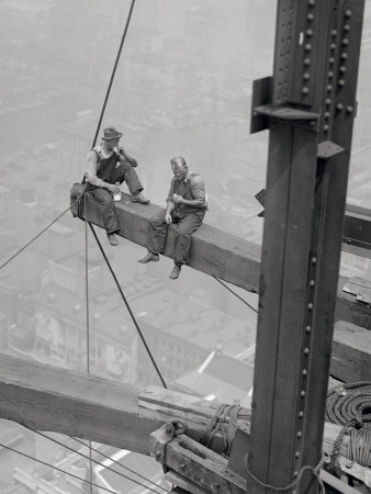 Workers Sitting on Steel Beam Posters