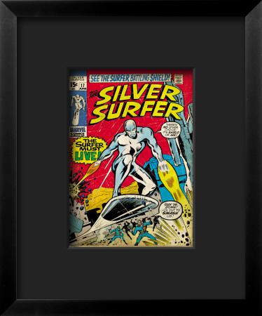 Marvel Comics Retro: Silver Surfer Comic Book Cover #17 Lámina giclée enmarcada