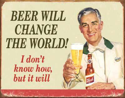 Ephemera - Beer Change Wood Tin Sign