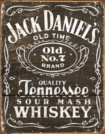 Jack Daniels - Logo na dřevorytu Plechová cedule