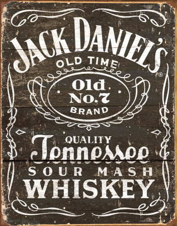 Jack Daniels - Woodcut Logo Tin Sign