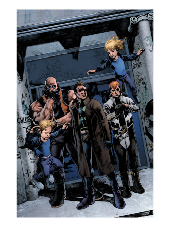 X-Factor #200 Group: Richards, Franklin, Richards, Valeria, Madrox, Strong Guy and Shatterstar Kunstdruck
