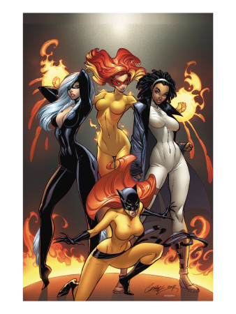 Marvel Divas #1 Cover: Hellcat, Black Cat, Captain Marvel and Firestar Art Print