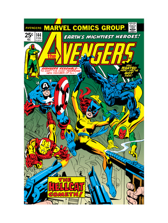 Avengers #144 Cover: Hellcat, Captain America, Iron Man, Beast, Vision and Avengers Charging Art Print