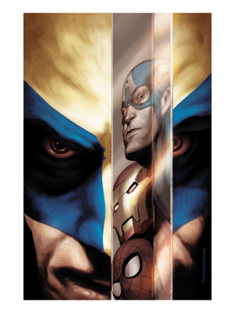 Wolverine #40 Cover: Wolverine, Captain America, Iron Man and Spider-Man Art Print