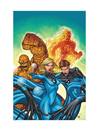 Marvel Adventures Fantastic Four #48 Cover: Invisible Woman, Mr. Fantastic, Thing and Human Torch Reproduction d'art