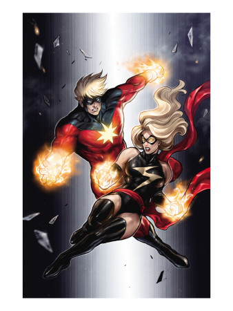 Ms. Marvel #49 Cover: Ms. Marvel and Captain Marvel Art Print