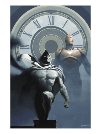 Moon Knight #11 Cover: Moon Knight and Iron Man Charging Art Print