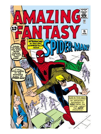 Amazing Fantasy #15 Cover: Spider-Man Swinging Reproduction d'art