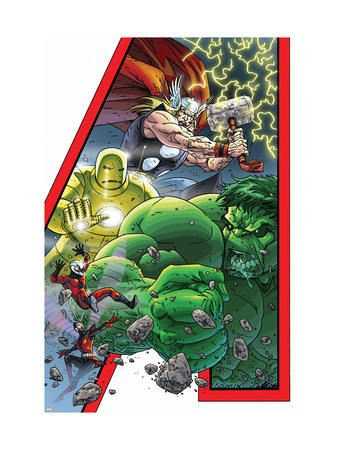 Avengers: Earths Mightiest Hero #1 Cover: Hulk, Iron Man, Thor, Ant-Man, Wasp and Avengers Konsttryck