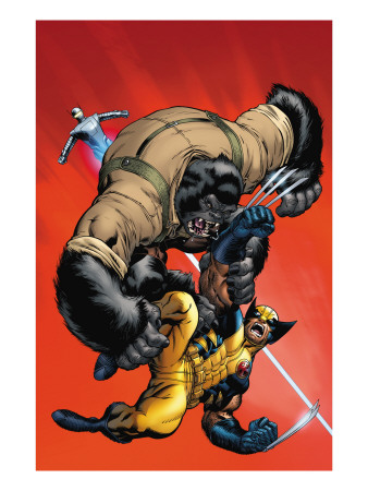 X-Men vs. Agents of Atlas #1 Cover: Wolverine and Gorilla-Man Lámina