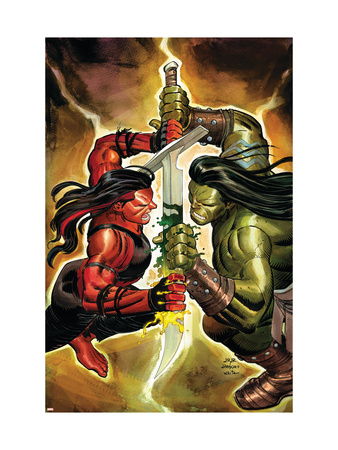 Incredible Hulk #607 Cover: Red She-Hulk and Skaar Art Print