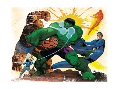 Fall of the Hulks: Gamma #1 Group: Hulk, Thing, Invisible Woman, Mr. Fantastic and Human Torch Art Print