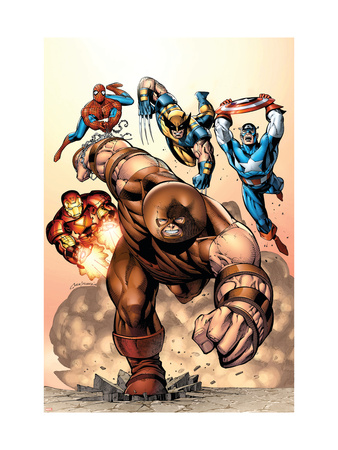 Marvel Two-In-One #7 Cover: Juggernaut, Wolverine, Captain America, Spider-Man and Iron Man Art Print
