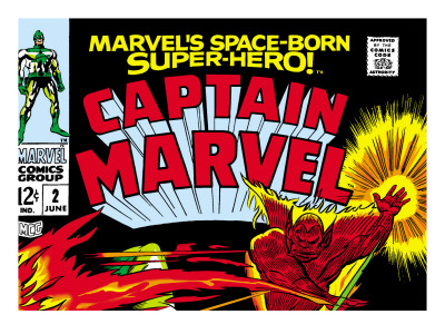Captain Marvel No.2 Cover: Super Skrull and Captain Marvel Swinging Art Print