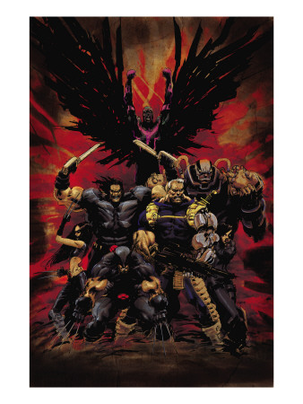 X-Force No.16 Cover: Wolverine, X-23, Cable, Warpath, Apocalypse and Archangel Kunsttrykk