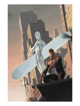 Silver Surfer: Requiem No.2 Cover: Silver Surfer and Spider-Man Art Print
