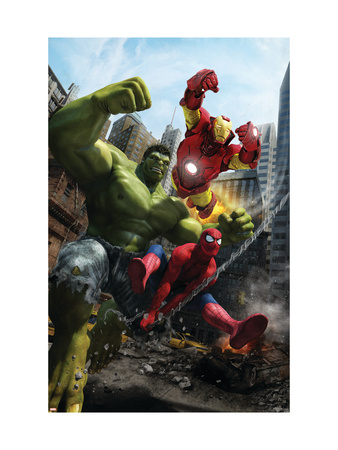 Marvel Adventures Iron Man Special Edition #1 Cover: Iron Man, Hulk and Spider-Man Art Print