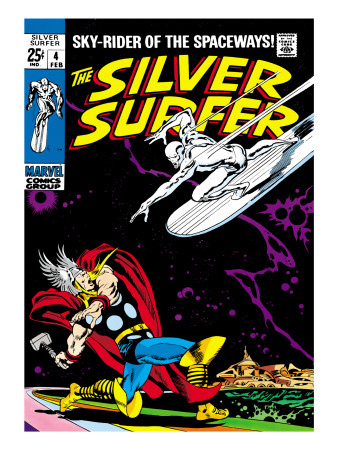 Marvel Comics Retro: Silver Surfer Comic Book Cover #4, Thor Art Print