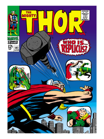 Marvel Comics Retro: The Mighty Thor Comic Book Cover #141, Who is Replicus? Lmina