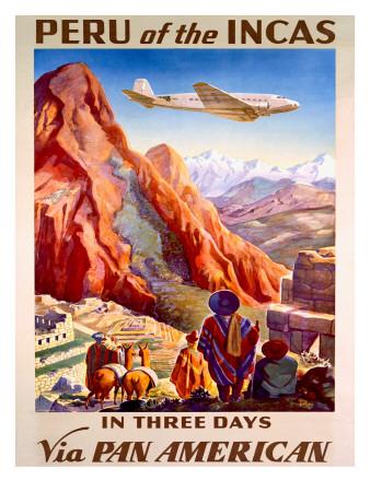 Pan American Peru of the Incas Poster Giclee Print
