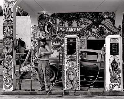 Hippie Gas Station, 1971 Art Print